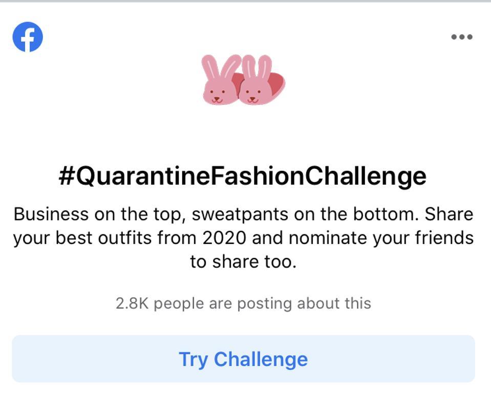 Screenshot of Facebook's newsfeed promotion of #QuarantineFashionChallenge