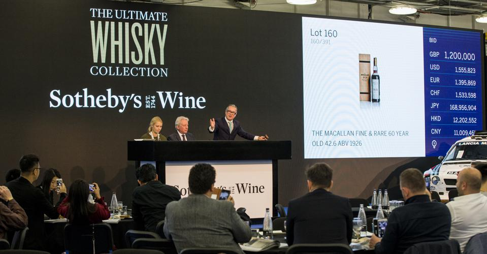 Sotheby's broke a world record during The Ultimate Whisky Collection auction in 2019, selling the most expensive whisky: The Macallan Fine & Rare 60-Year-Old, bottled in 1926, for $1.7 million.
