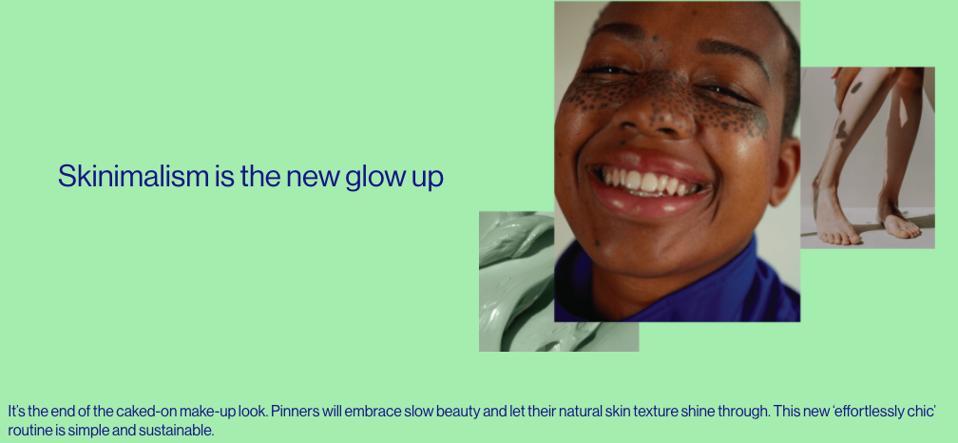 Pinterest skinimalism beauty trend 2021