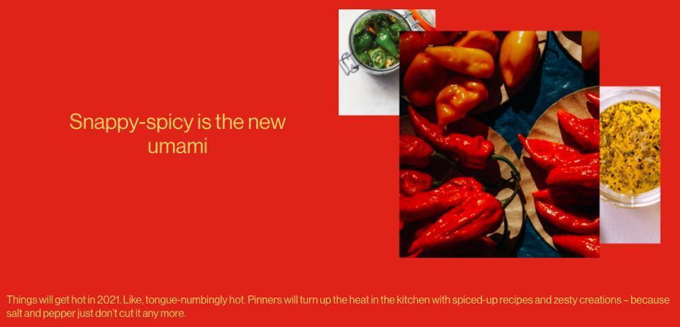 Pinterest predictions 2021 food