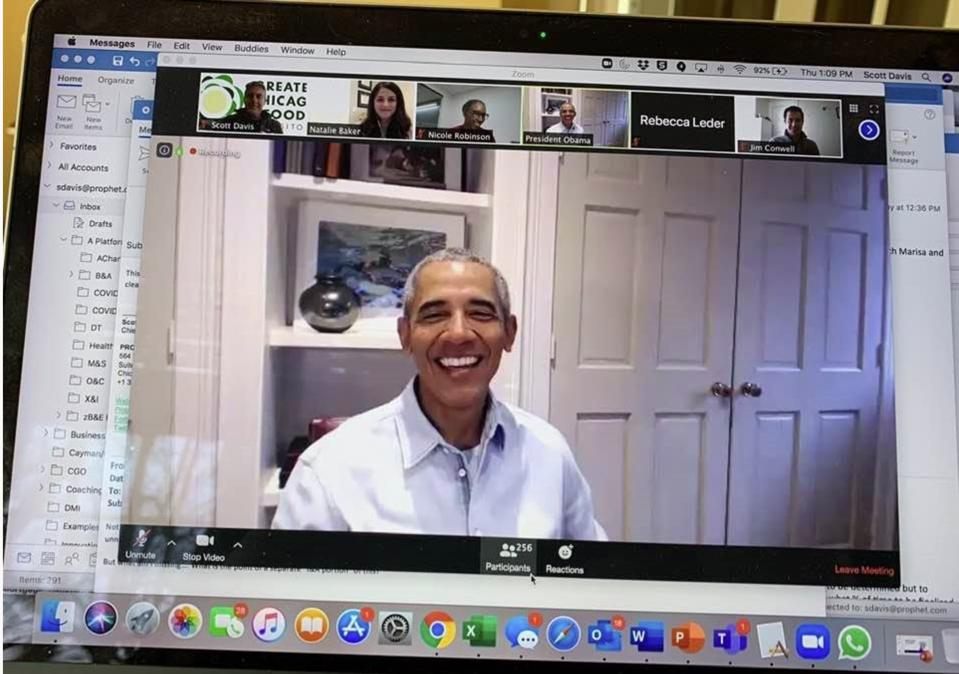 President Barack Obama ″crashes″ Zoom board meeting at the Greater Chicago Food Depository.
