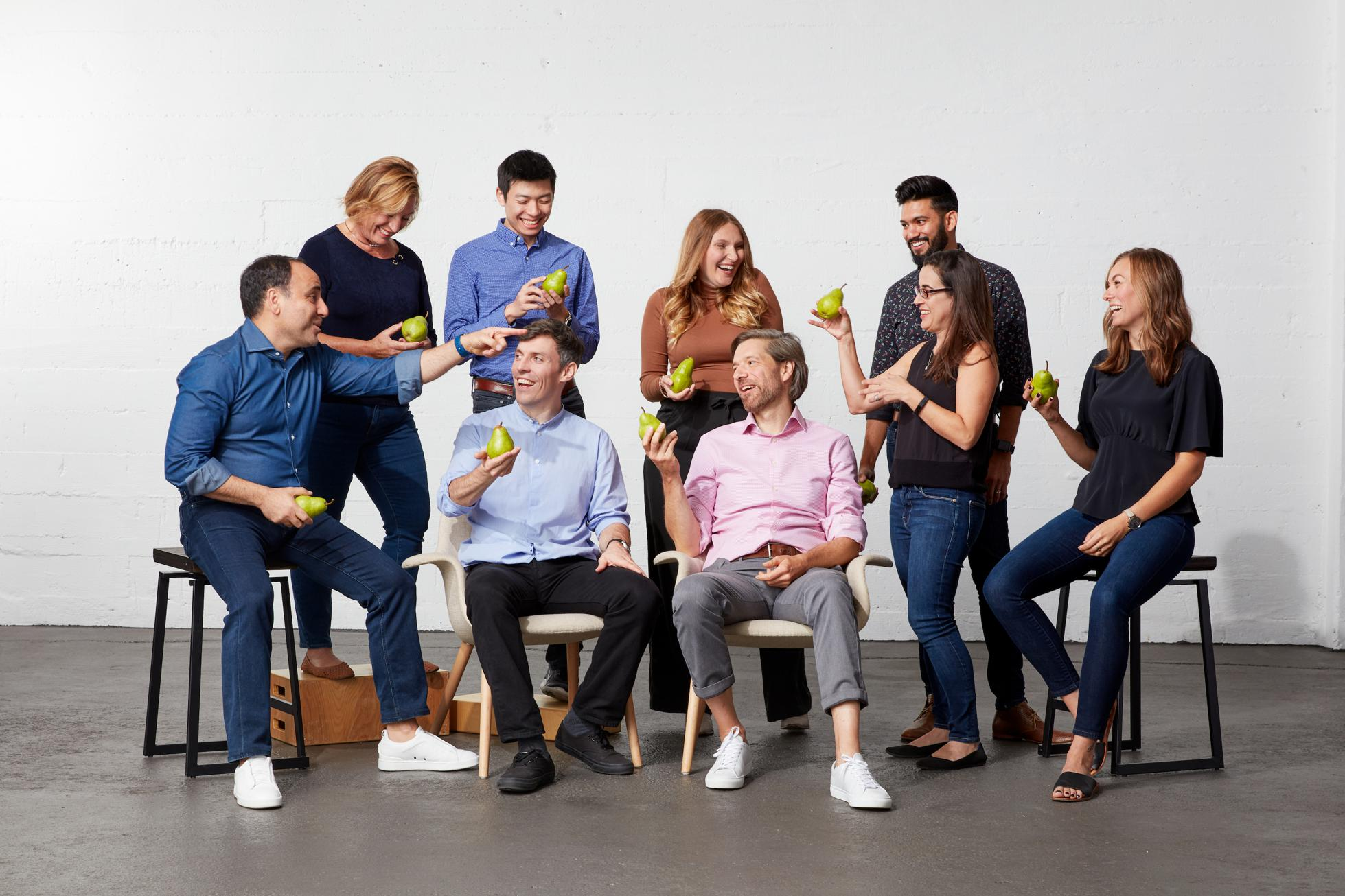 The Pear VC team as of October 2019, with cofounders Pejman Nozad and Mar Hershenson.