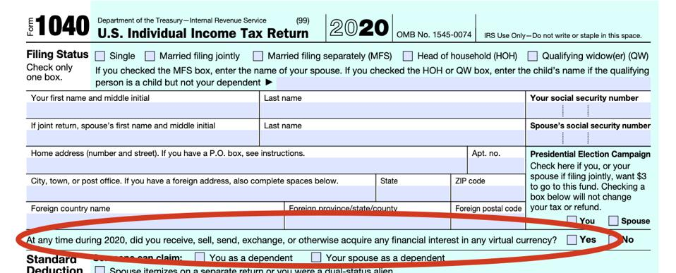 Crypto question on Form 1040