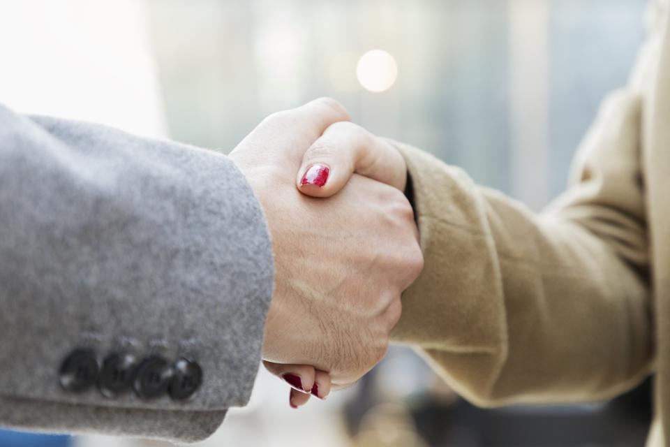 Business woman shaking hands with businessman, close-up.