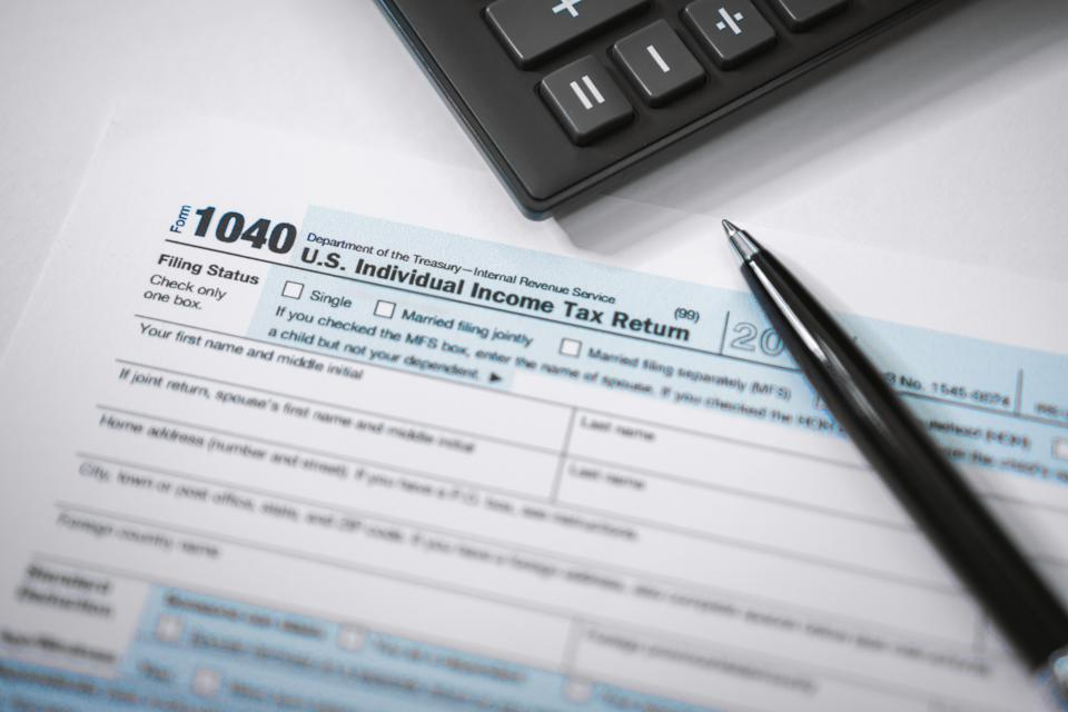 Close Up of Income Tax Form
