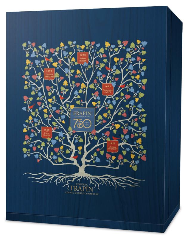 A blue box with a family tree from Cognac Frapin and the 21 generations.