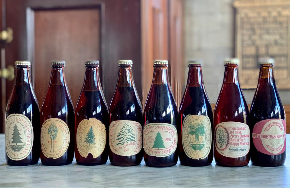 Anchor Brewing lines up some of its past Christmas ales.