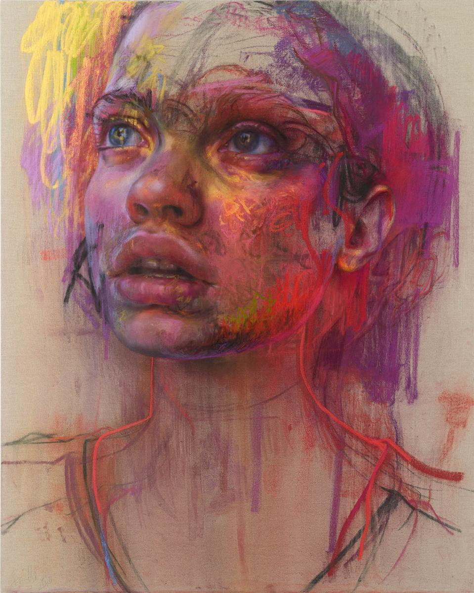 Jenny Saville,  ″Prism,″ 2020. Pastel on linen. 78 3/4 x 63 in 200 x 160 cm. © Jenny Saville Photo: Prudence Cuming. Courtesy Gagosian.