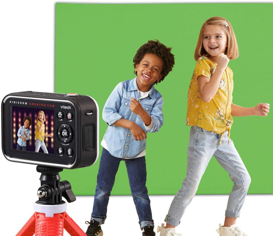 kids dancing with video camera