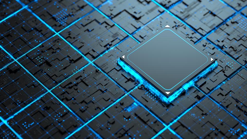 藍色網路上的發光晶片