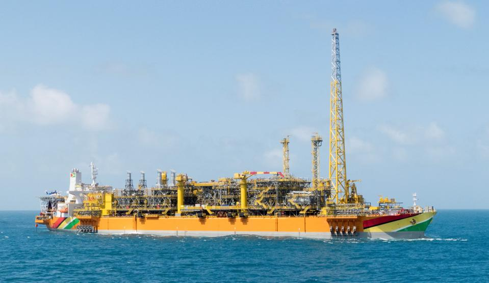 The Liza Destiny FPSO unit on location in Guyana's deepwater sector.
