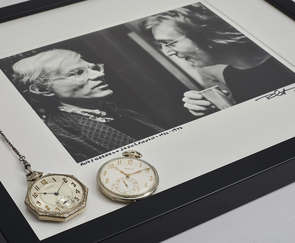 Pocket watches owned by John Lennon and Andy Warhol sold for $50,400.
