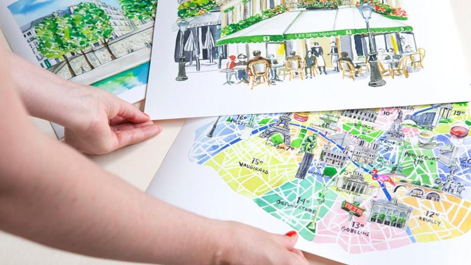 Illustrator Jessie Kanelos Weiner's Paris sketches of Paris landmarks.
