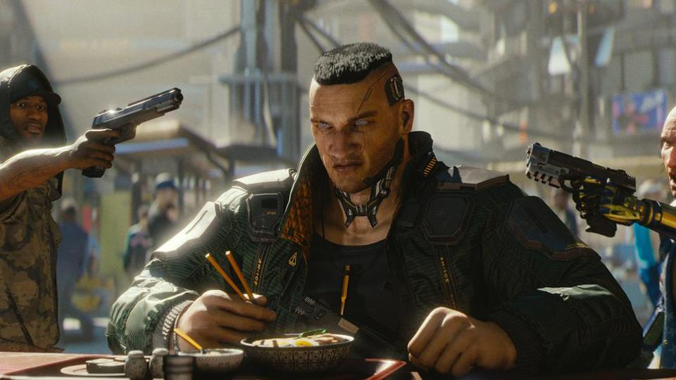 Cyberpunk 2077 criminal held at gunpoint while eating ramen