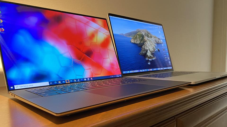 2020 Dell XPS 15 9500 (left) and 16-inch MacBook Pro.