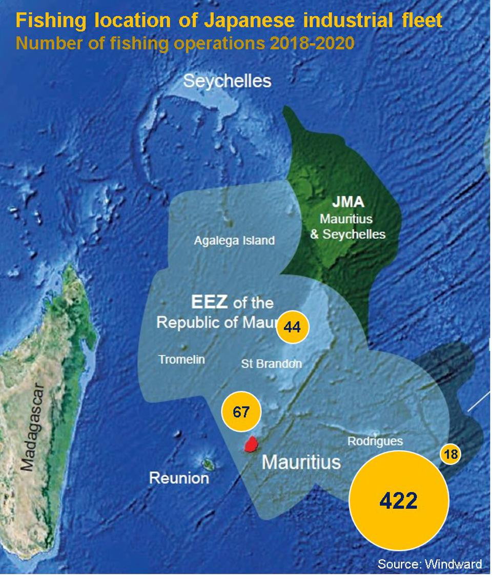 Windward's analysis reveals rapid expansion of Japanese fisheries operations around Rodrigues