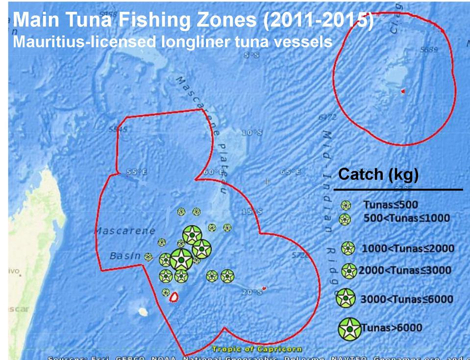 Fishing until 2015 was concentrated around the North of Mauritius. This has changed with the Japanese fleet presence. (Mauritius submission to IOTC 2011-2015).