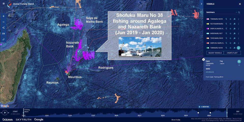 Japanese industrial fishing vessel Shofuku Maru No 38 has been extensively fishing around Agalega and Nazareth Bank since last year