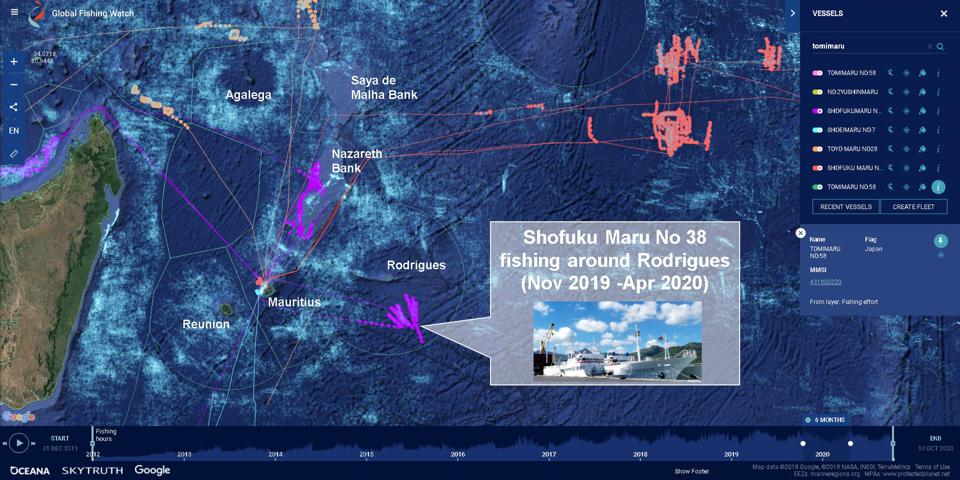 Shofuku Maru No 38 begins extensive industrial fishing around Rodrigues in 2020