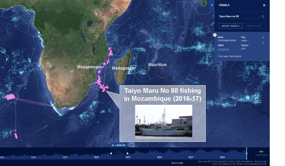 Taiyo Maru No 88 fishing in Mozambique waters in 2016 and 2017