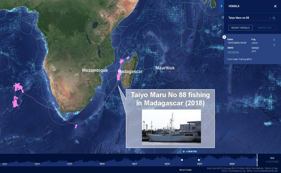 The Taiyo Maru No 88 then conducted extensive fishing operations within Madagascar's waters in 2018