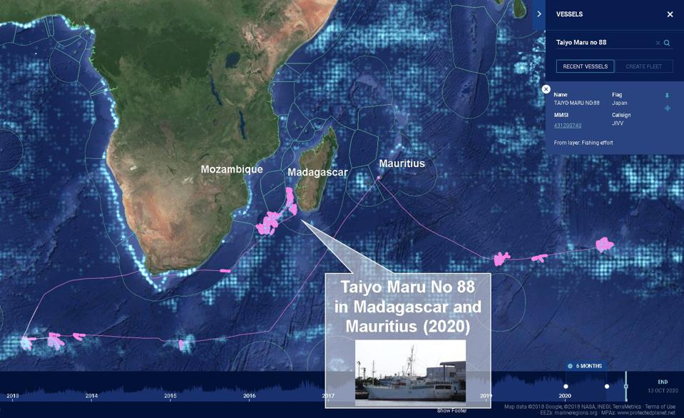The Taiyo Maru No 88 seen using Mauritius as a base in 2020 after fishing expeditions close to Antarctica, within Madagascar's waters and across the Southern Indian Ocean toward Australia