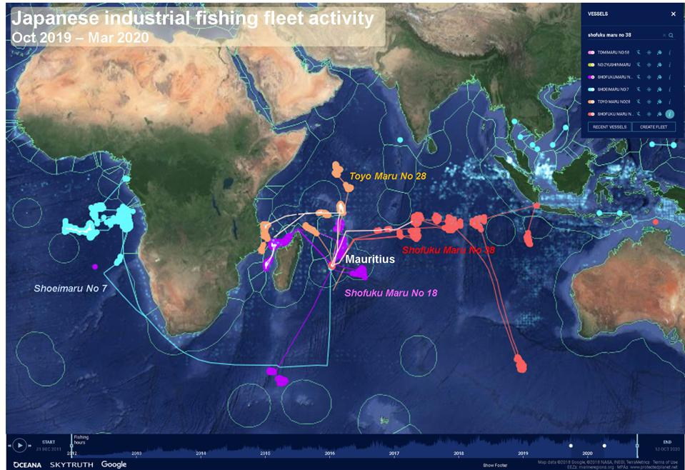 How Japan's vessels use Mauritius as a base for Indian Ocean and African fishery operations (data from 2020)