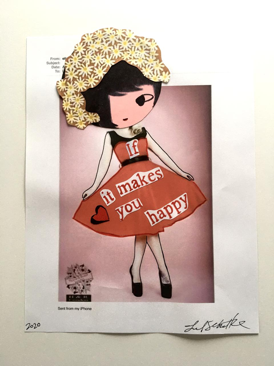 A collage of a cartoon named Phoebe wearing a dress with letters saying ″if It Makes You Happy.″