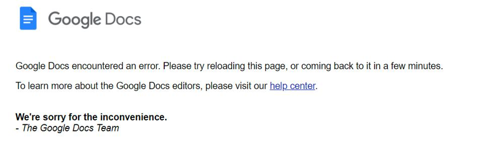 Users are currently unable to access multiple Google services.