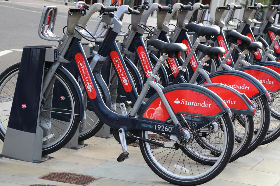 Rack of Santander cycles for hire in London...