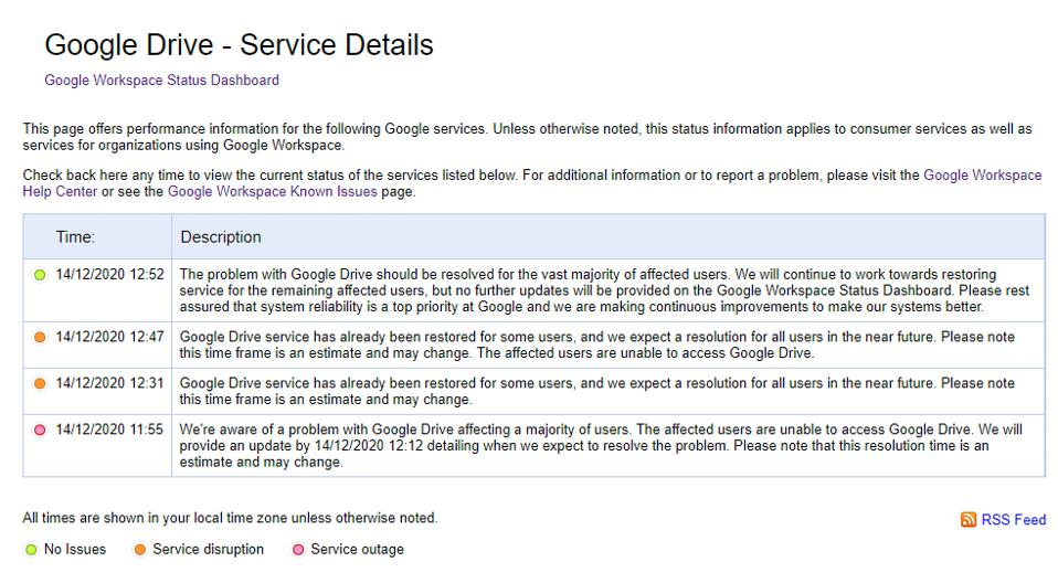 Many Google services, including Google Drive, are now fixed.