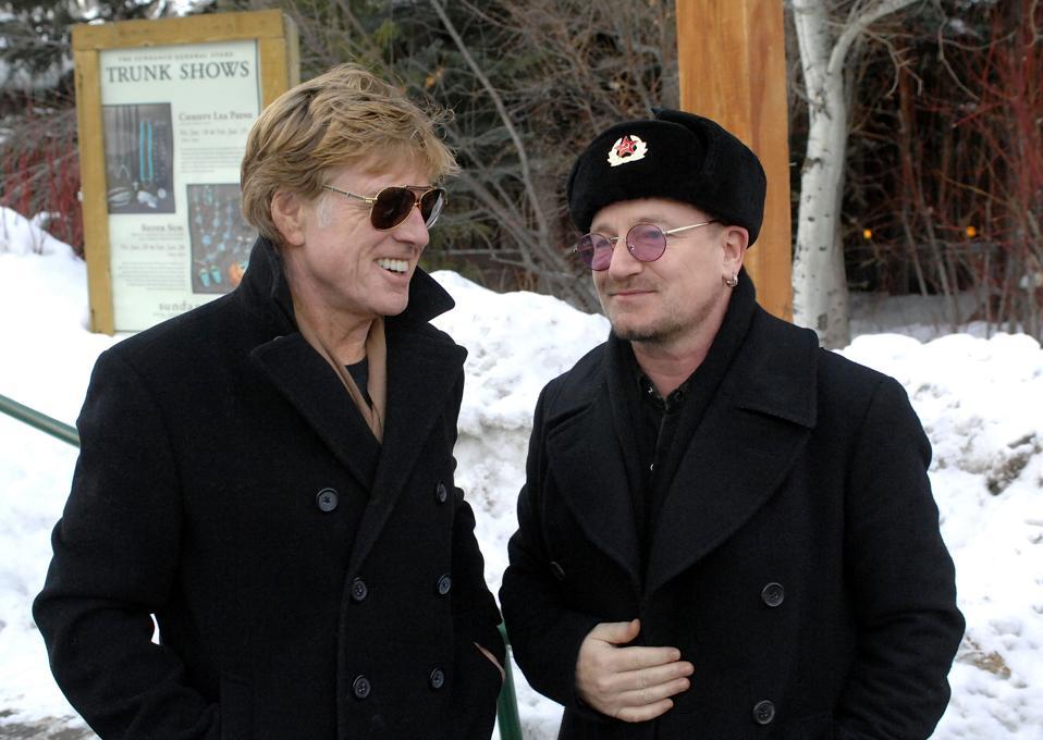 2008 Sundance Film Festival - Bono and The Edge of U2 Meet With Robert Redford at the Sundance Resort