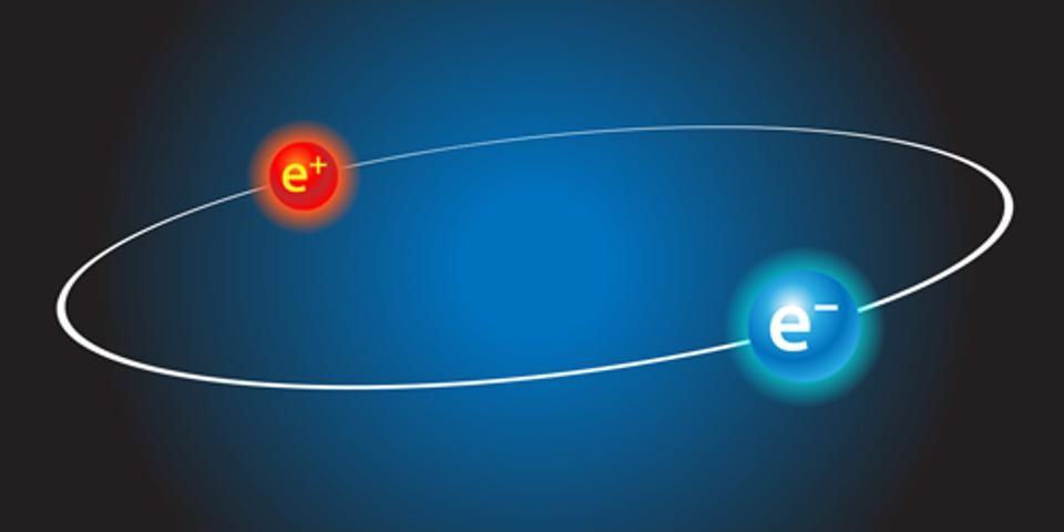 An electron and antimatter electron locked in a mutual orbit.