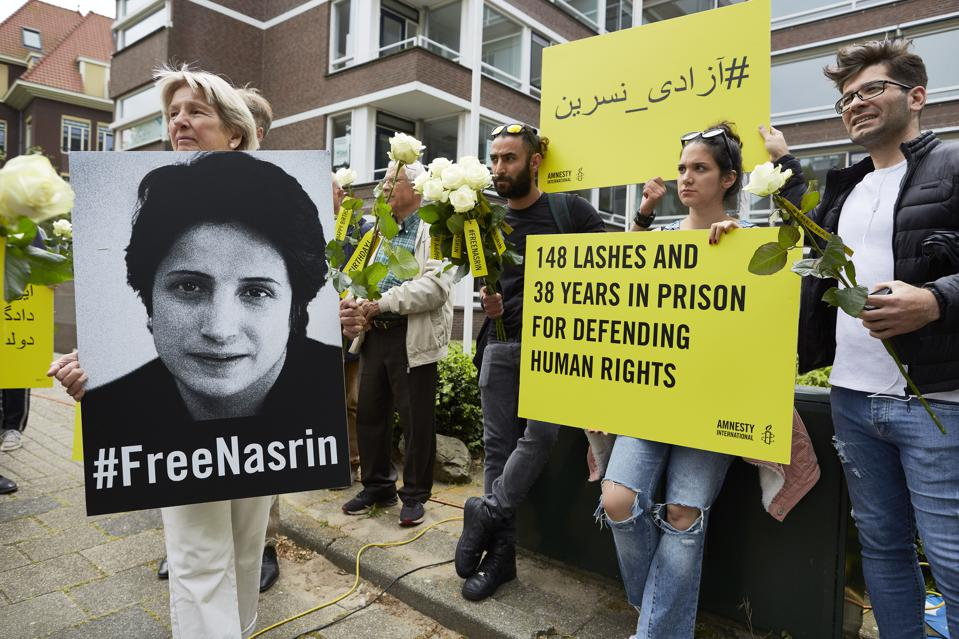 Supporters Of Jailed Human Rights Lawyer Protest At Iranian Embassy In The Hague