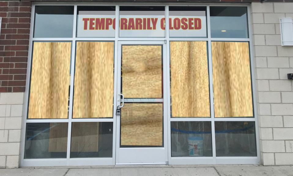 A picture of a generic closed business.