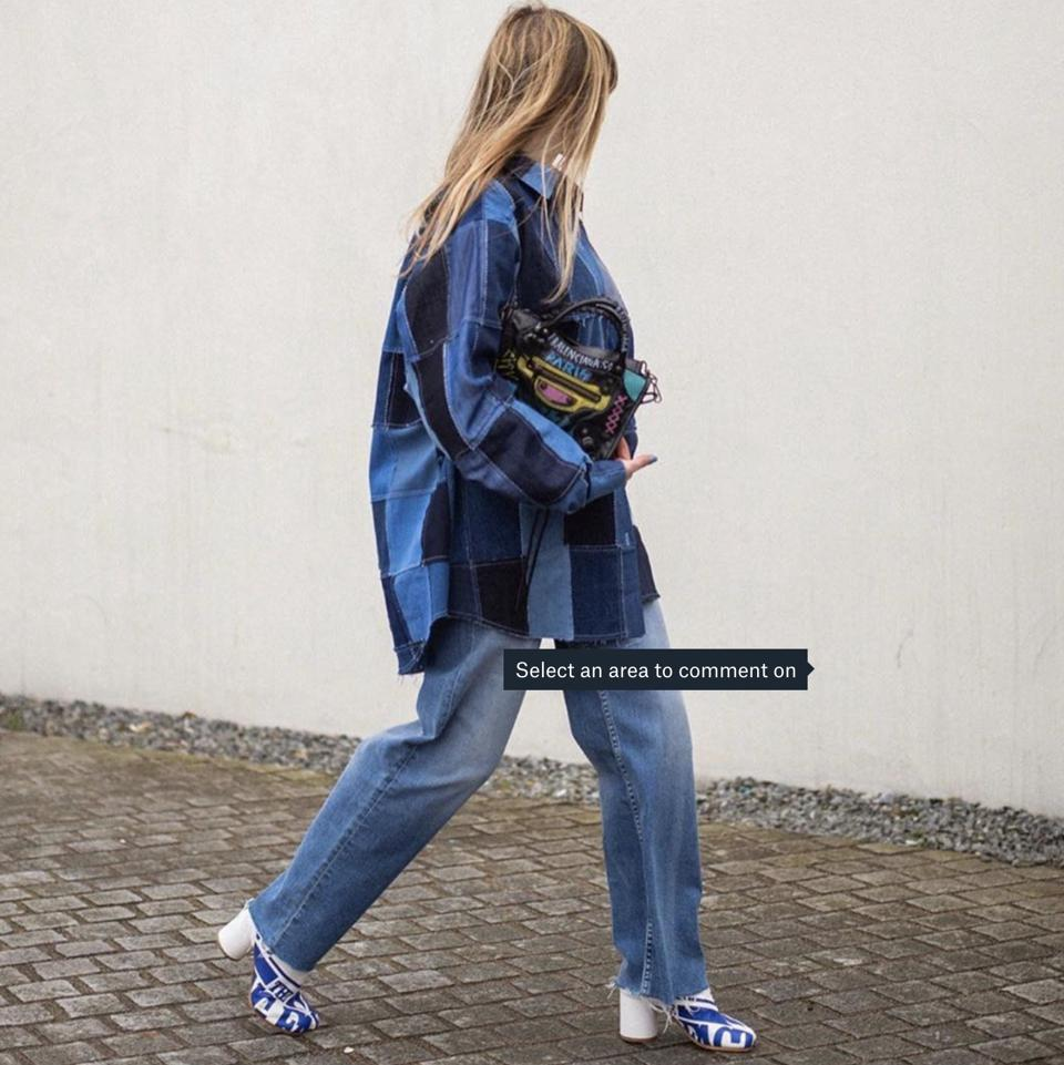 Denim-denim upcycled patchwork is a design signature of Ksenia Schnaider