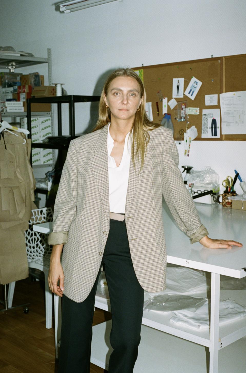 Fashion Designer Ksenia Schnaider in her studio. Kyiv, Ukraine