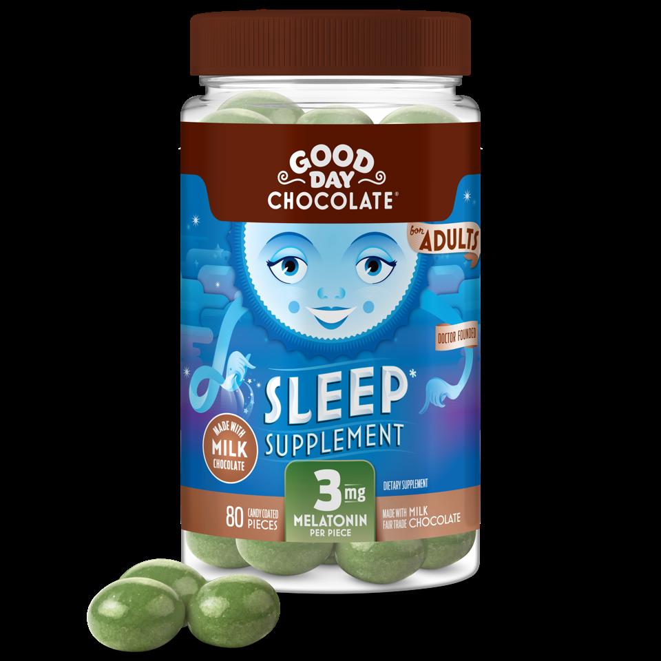 A bottle of Good Day Chocolate Sleep Supplement