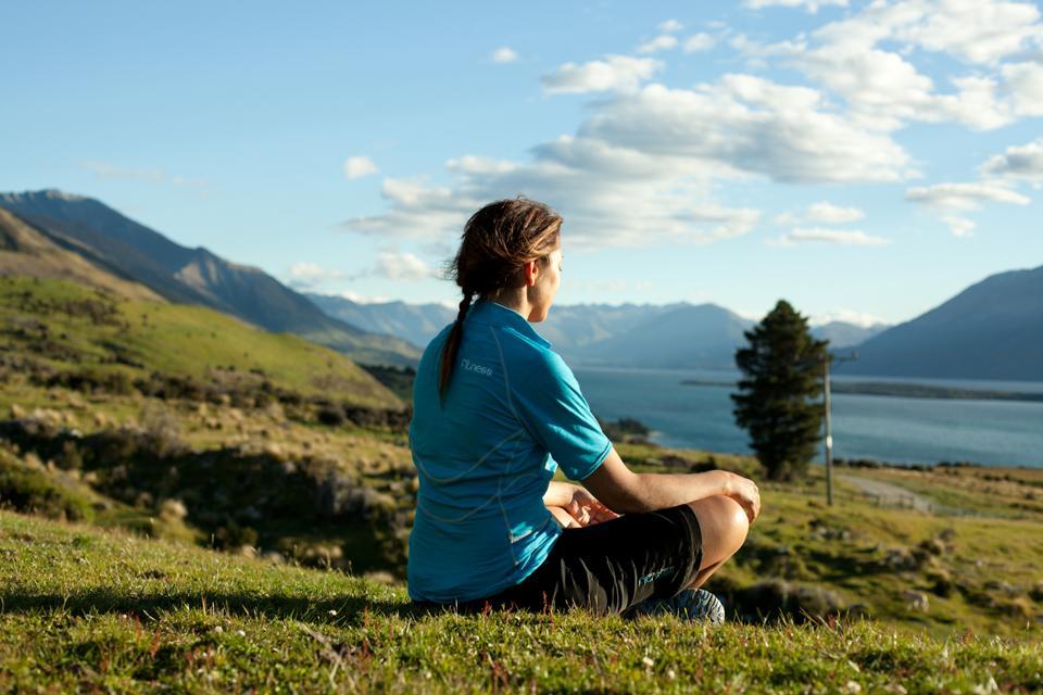 Meditating above a lake
