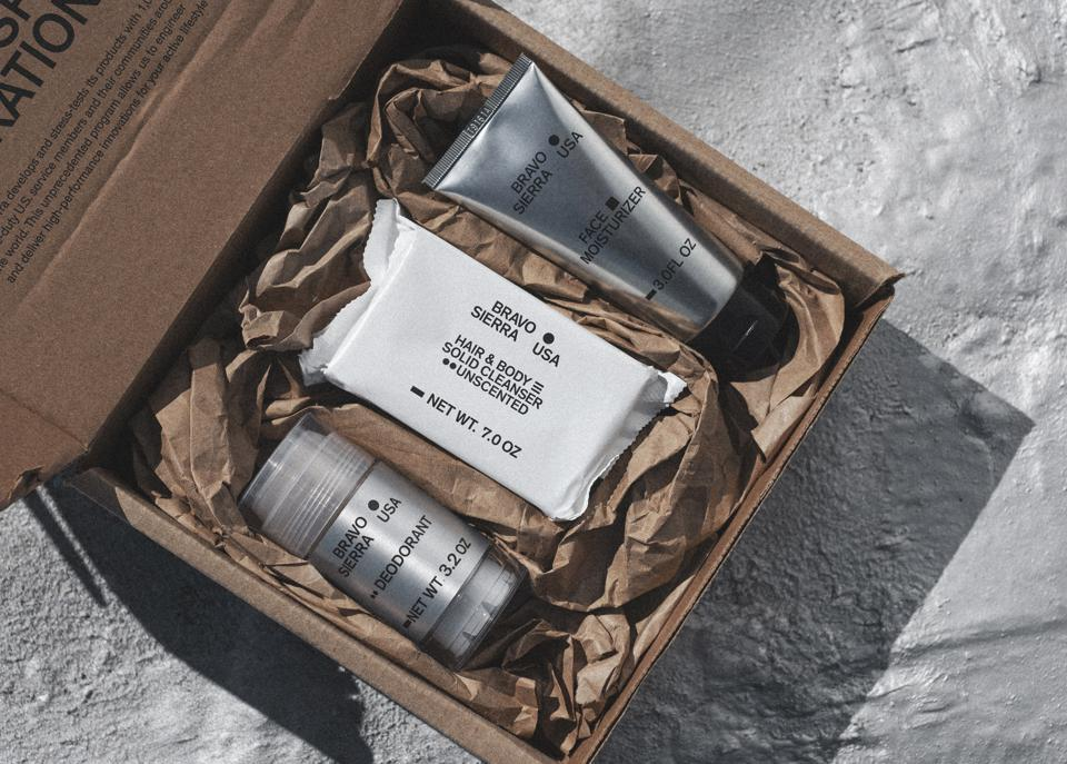 Bravo Sierra's deodorant, hair and body cleanser and facial moisturizer