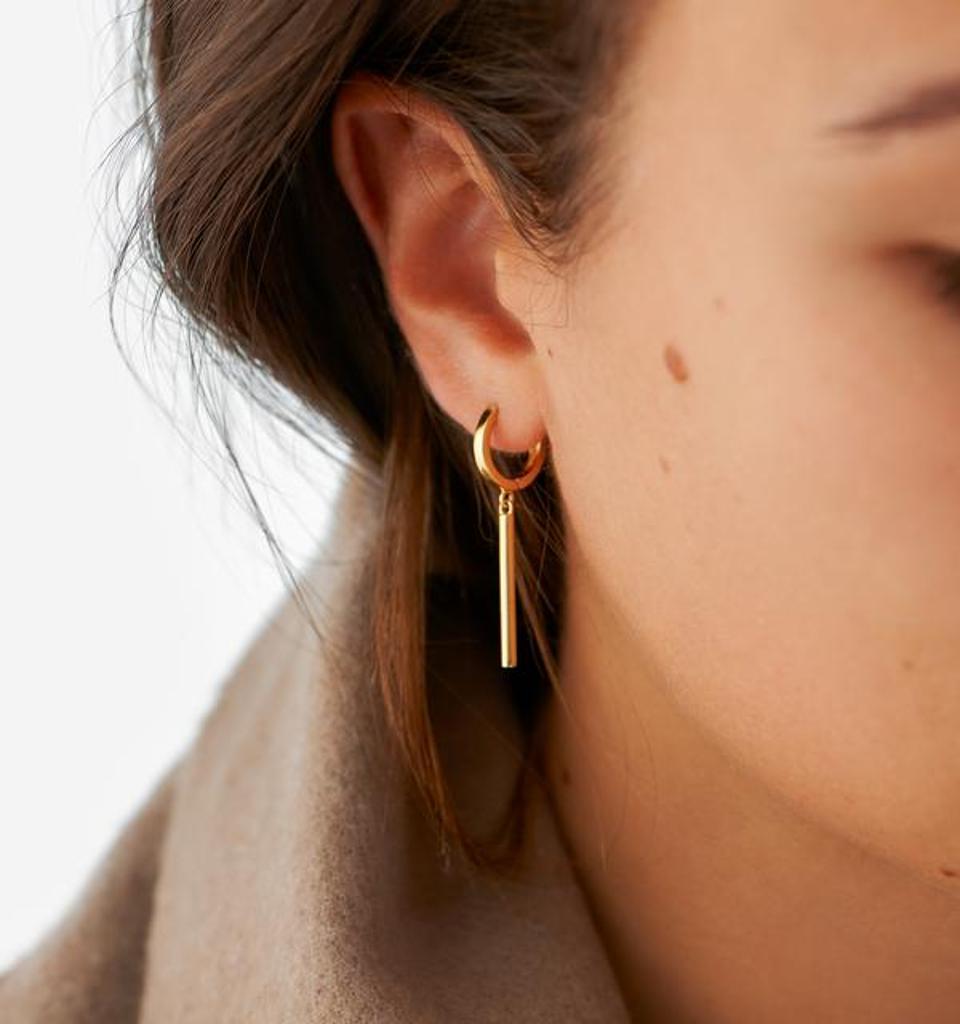 Bar Drop Earrings, 18K Gold Over Sterling Silver