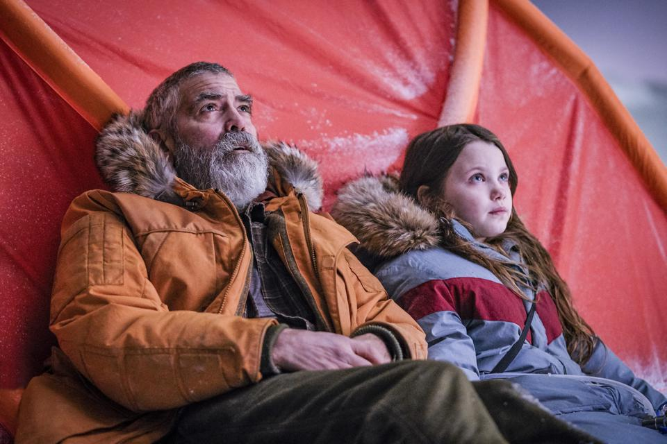 George Clooney and Caoilinn Springall in a scene from ″The Midnight Sky″