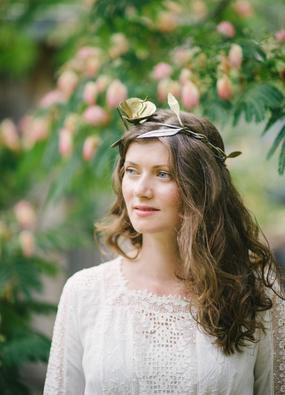 Delicate brass and steel floral tiara by Los Angeles-based artist James Naish.
