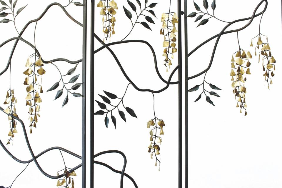 Brass flower wisteria screen for home décor by Los Angeles-based artist James Naish.