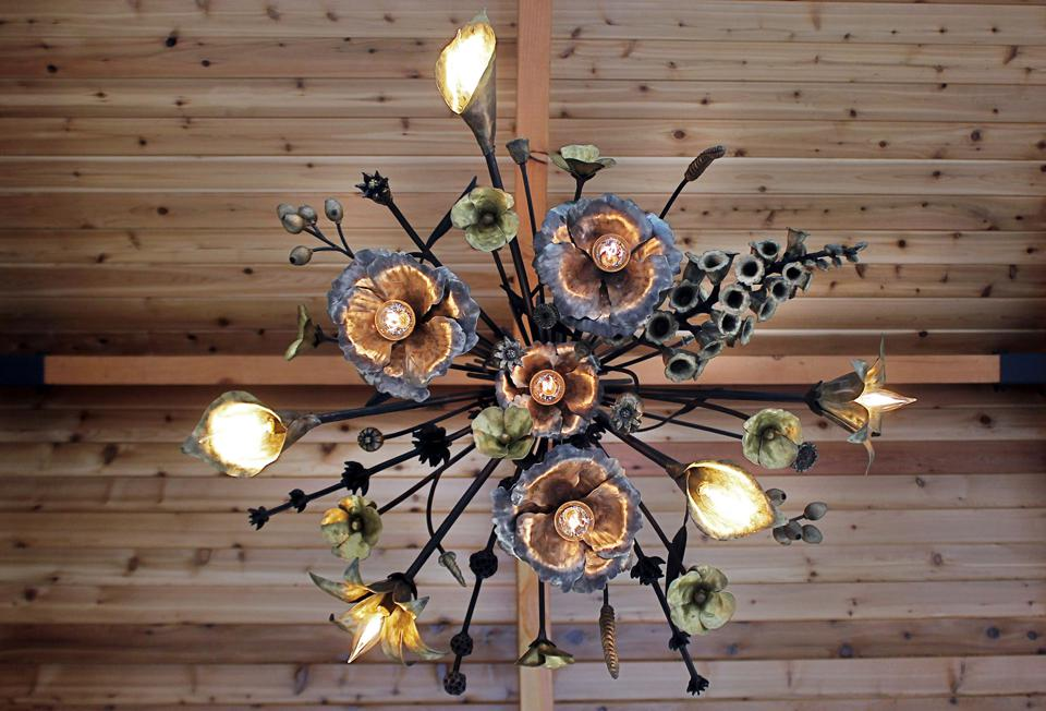 Luxurious handmade California floral chandelier by Los Angeles metal artist James Naish.