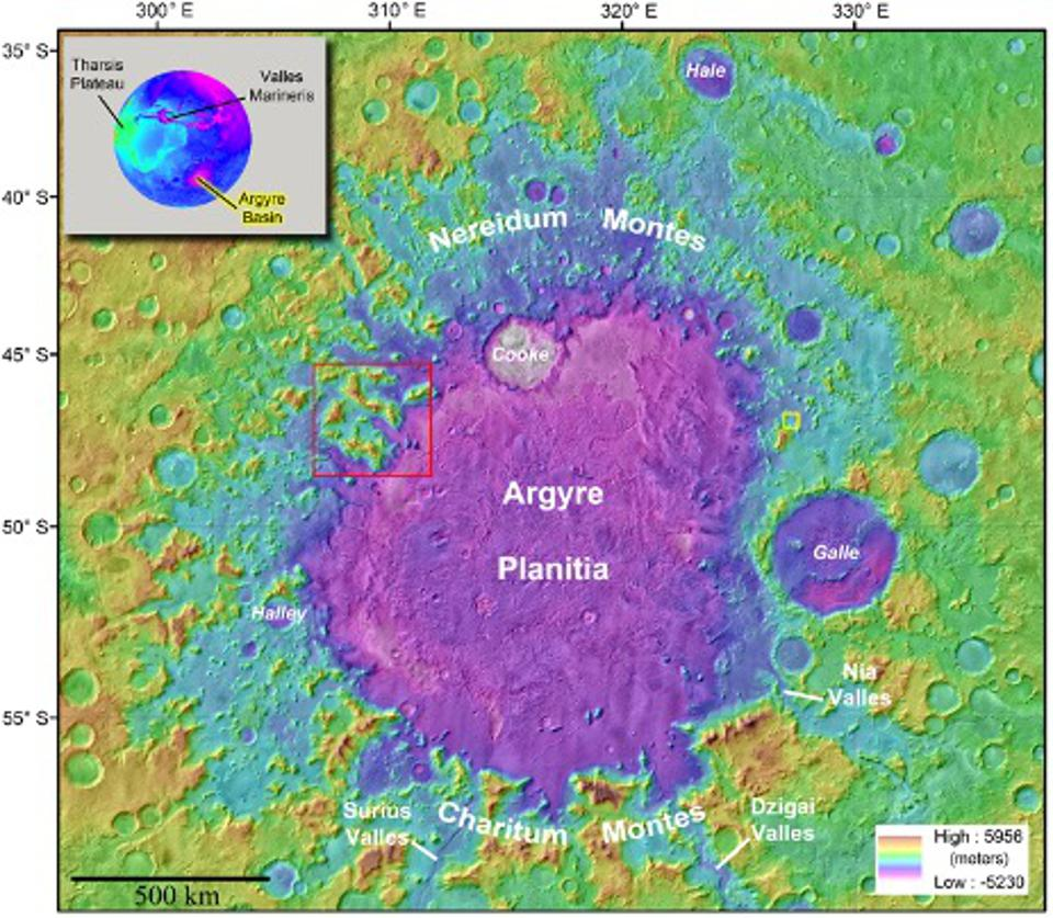 The Argyre Planitia basin on Mars, rendered in false color to show altitude.