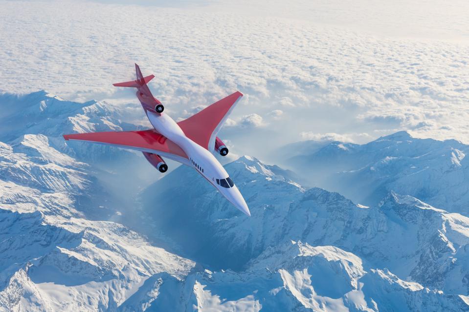 Rendering of supersonic business jet in flight.