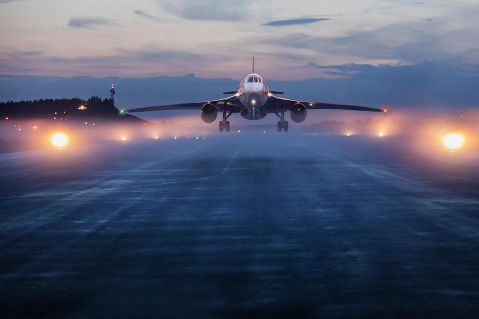 A rendering of a supersonic jet on the runway.