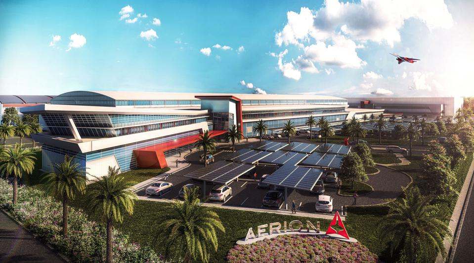 Rendering of planned ″Aerion Park″ corporate headquarters.