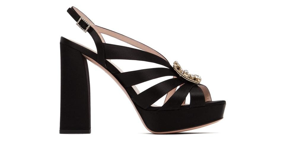 Crystal-Buckle Satin Platform Sandals by Roger Vivier: